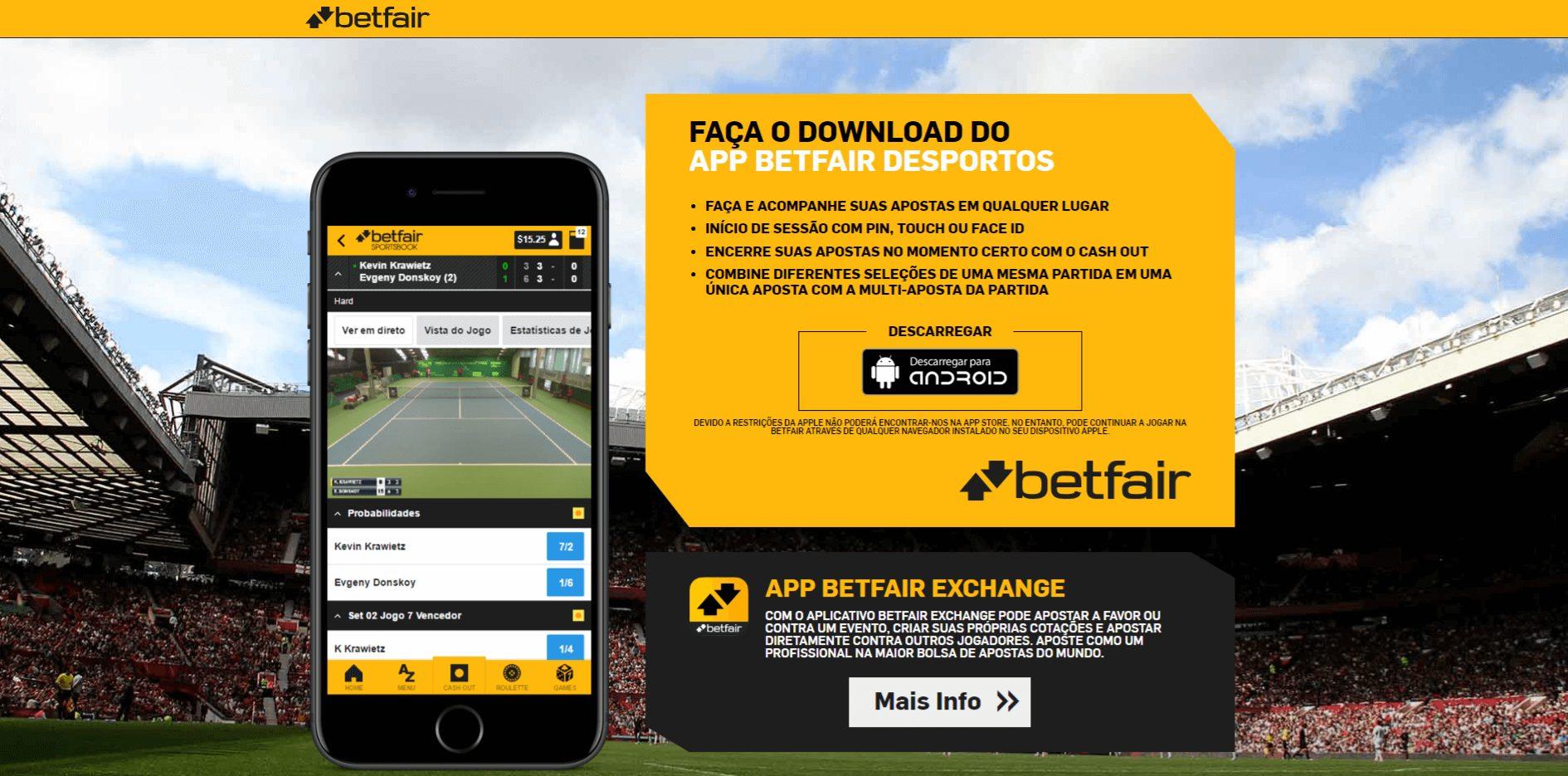 App Betfair desportos para Android