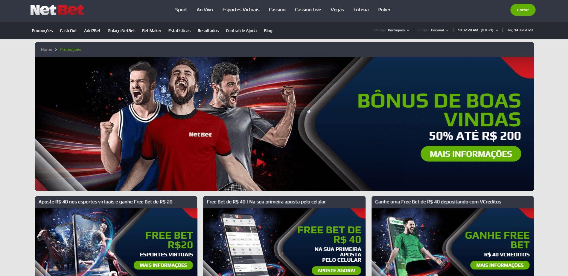 bônus e free bets na NetBet
