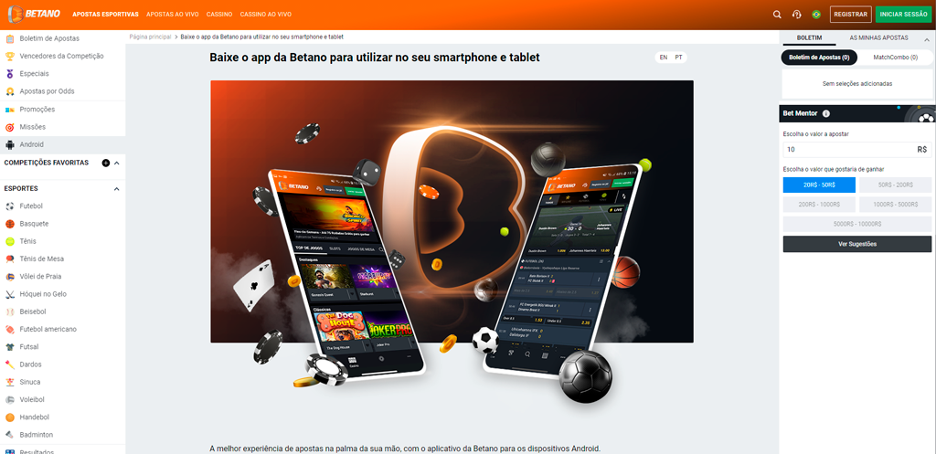 betano tem aplicativo para os dispositivos Android