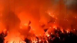 Jogo de futebol interrompido - incêndio